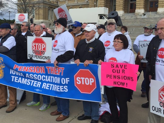 About 150 retired Teamsters union members rallied at the Iowa Capitol on Thursday, March 31, 2016, to protest proposed cuts to their pensions.