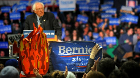 Democratic presidential candidate Bernie Sanders, I-Vt., speaks to supporters during a rally in Albany, N.Y., Monday, April 11, 2016.