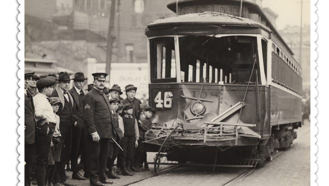 1922: STREETCARS The Vine-Burnet streetcar No. 46 was involved in an accident at Vine and McMicken in 1922. Safety was one of the reasons Cincinnati celebrated the end of streetcars in 1951, when they were replaced with buses. Enquirer File Photo scanned March 5, 2009