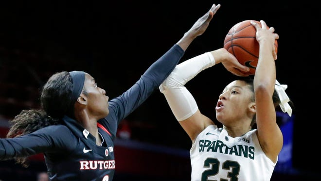 Michigan State forward Aerial Powers (23) shoots against Rutgers on Feb. 18, 2016.