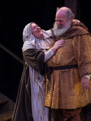 """Bree Murphy plays Hostess Quickly and John Ahlin plays Sir John Falstaff in the Utah Shakespeare FestivalÕs 2015 production of """"King Henry IV Part Two."""""""
