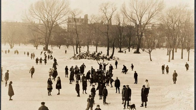 Many people enjoy winter fun on the pond at the Public Garden on Feb. 17, 1923.