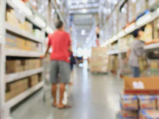 Shopper in a generic retail warehouse store.