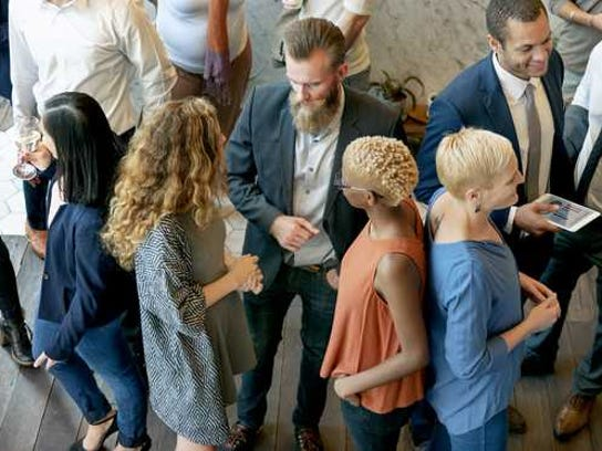People mingle at an event