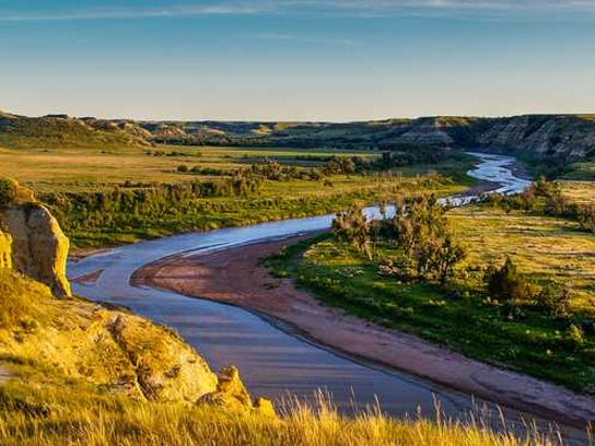 river running through Badlands in North Dakota