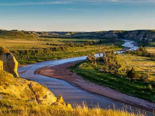 river running through Badlands in North Dakota