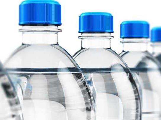 A row of bottled water.