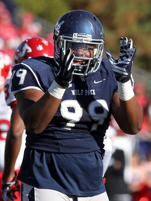 Wolf Pack defensive tackle Korey Rush celebrates a broken up pass during a win over Fresno State last week.