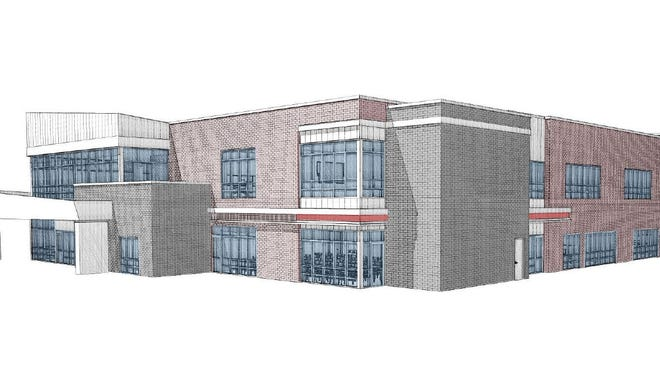 A drawing shows the new St. Cloud school district ECFE and community education building exterior from the north.