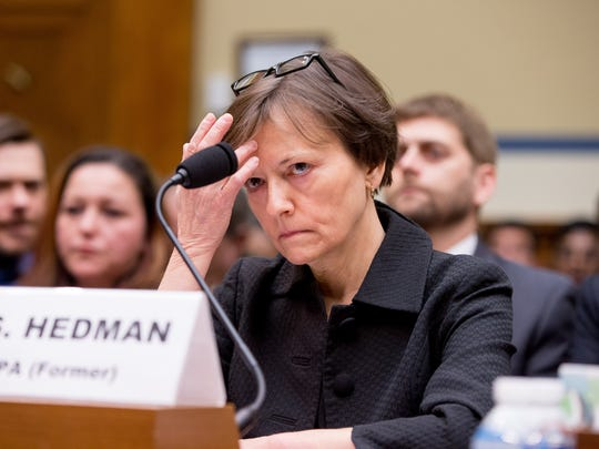 Former State EPA Administrator Susan Hedman appears to testify before the House Oversight and Government Reform Committee, in Washington.