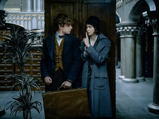 Newt (Eddie Redmayne) and Tina (Katherine Waterston) in 'Fantastic Beasts and Where to Find Them.'