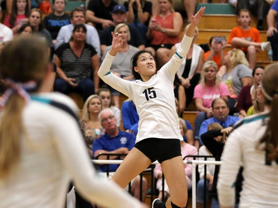 Emily Damon jumps for the ball during the rematch of the Barron Collier versus Gulf Coast crosstown rivalry match at Gulf Coast on Wednesday, Oct. 4, 2017.