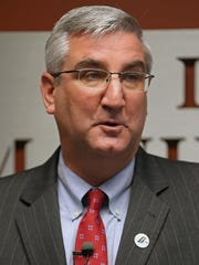 Eric Holcomb, the Republican candidate for Indiana governor, speaks after being endorsed by the Indiana Manufacturers Association at its Downtown Indianapolis headquarters, Oct. 13, 2016.