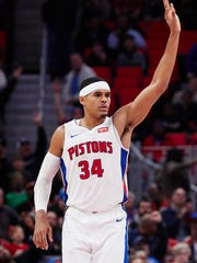 Detroit Pistons forward Tobias Harris (34) reacts after