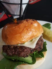 The California burger is topped with avocado, Monterey