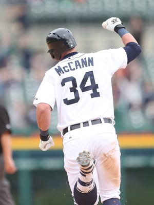 Detroit Tigers' James McCann celebrates after his walk-off home run during eleventh inning action against the Houston Astros on May 21, 2015.