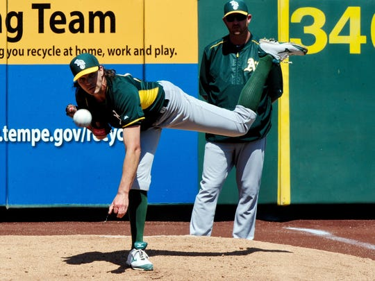 Mar 31, 2015; Tempe, AZ, USA; Oakland Athletics starting pitcher Barry Zito (75) warms up prior to the game against the Los Angeles Angels at Tempe Diablo Stadium. Mandatory Credit: Matt Kartozian-USA TODAY Sports