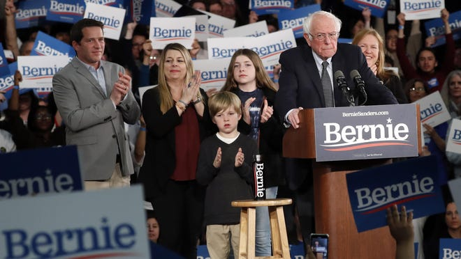 Democratic presidential candidate Sen. Bernie Sanders, I-Vt., speaks to supporters at a caucus night campaign rally in Des Moines, Iowa, Monday, Feb. 3, 2020. (AP Photo/Pablo Martinez Monsivais)