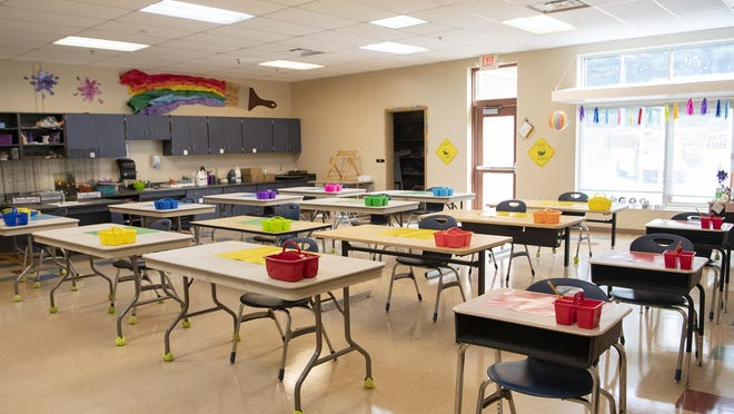 The art classroom has been reconfigured to allow more distancing between students at Hillandale Elementary in East Flat Rock on Sept. 18, 2020.