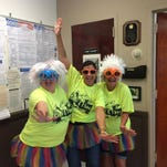 Netcong Elementary School will be hosting a Color Run on Oct. 24. A kick off was held on Sept. 11 at which (from left to right) Kathleen Walsh, assistant principal; Gina Cinotti, chief school administrator and Kimberly Arbolino, student council adviser, showed how to get ready for the event.