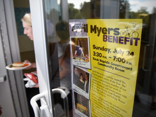 A flyer outlines the benefit event for April Myers