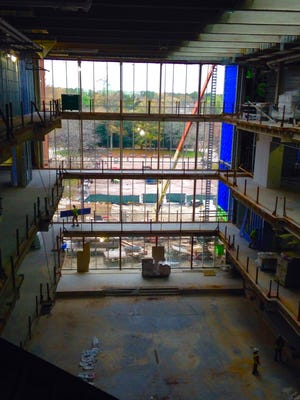 A view from the fourth and top floor of the Patricia R. Guerrieri Academic Commons on the campus of Salisbury University. The building is under construction and should be open in the fall of 2016.