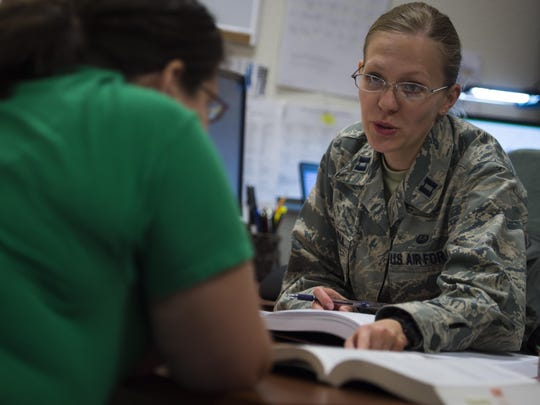 Captain Ekaterina Korulina, the appointed Special Victims Counsel attorney practices her procedures in a controlled environment with stand-in Josephine Brechtold, the Airman and Family Readiness Center family services lead coordinator at Holloman Air Force Base. The Special Victims Counsel offers confidential legal advice and assistance to sexual assault victims.
