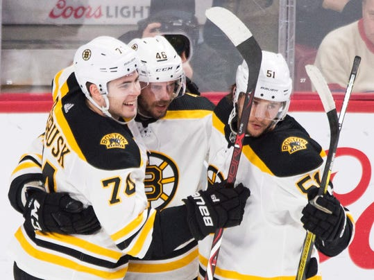 Boston Bruins' David Krejci (46) celebrates with teammates Jake DeBrusk (74) and Ryan Spooner after scoring against the Montreal Canadiens during second period NHL hockey action in Montreal, Saturday, Jan. 13, 2018. (Graham Hughes/The Canadian Press via AP)