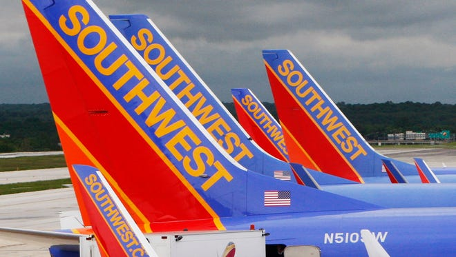 In this file photo from May 16, 2008, Southwest Airlines jets are seen at Baltimore-Washington International Airport.