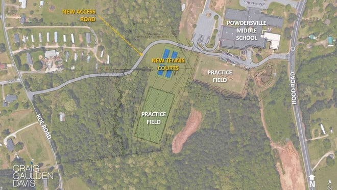 Schematics of the new Powdersville High School tennis courts presented to the Anderson School District 1 board of trustees earlier this year.