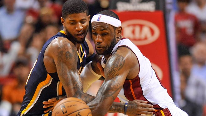 Pacers forward Paul George and Heat forward LeBron James are at the center of the East finals again.