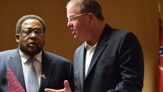 The Rev. Kenneth Fairley, left, and Hattiesburg City Council President Kim Bradley were part of the group that came to an agreement Monday on the return of Citizens Forum to City Council meetings.