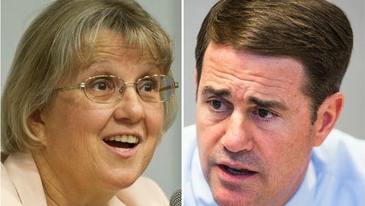 Arizona Superintendent of Schools Diane Douglas (left) and Gov. Doug Ducey.