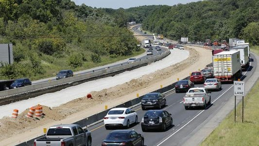 Traffic in the northbound lanes begins to back up approaching the bridge over the Wildcat Creek near Lafayette shortly before 2 p.m. Friday, Aug. 7, 2015. Northbound lanes were once again closed shortly thereafter.
