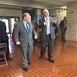 From left, Detroit Mayor Mike Duggan and Cleary University President Jayson Boyers talking about the new Cleary campus opening in Detroit.
