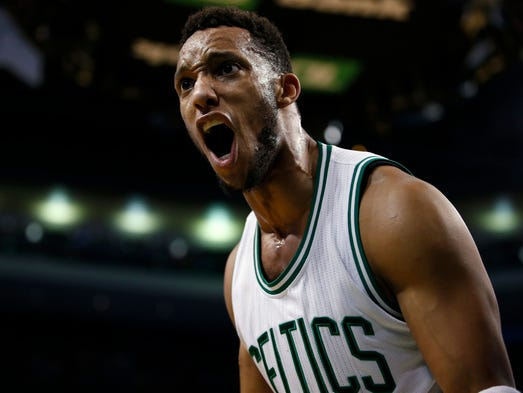 Apr 14, 2015: Celtics guard Evan Turner reacts to a