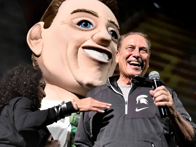 With a bighead Tom Izzo character behind him, the real
