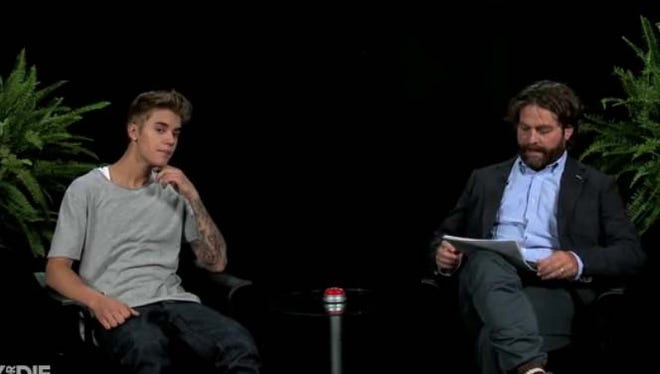 Zach Galifianakis interviews Justin Bieber in a Funny or Die video.