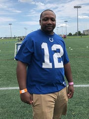 Indianapolis Colts fan Nate Dickson at Grand Park in Westfield for training camp.