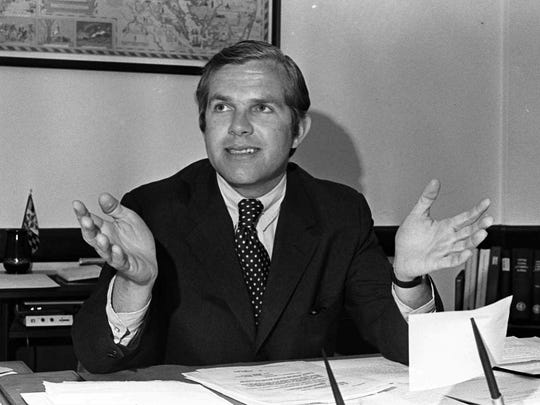 U.S. Attorney George Beall, of Baltimore, Md., gestures May 24, 1972, as he discusses the federal indictment against Arthur H. Bremer, accused of shooting Alabama Gov. George C. Wallace.