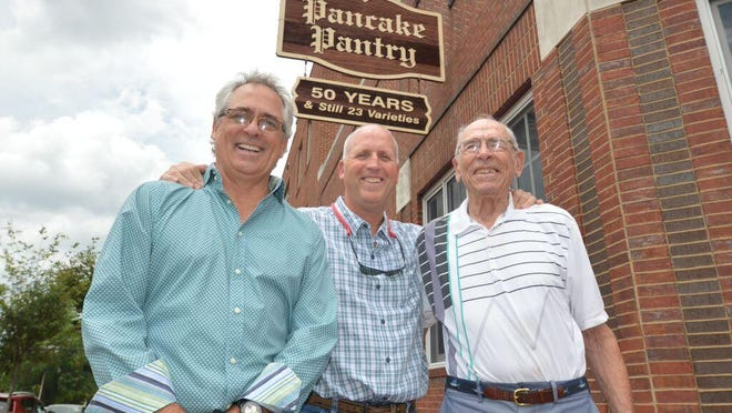 This 2015 picture shows Bob Baldwin, right, the founder of the Pancake Pantry, with his son, David Baldwin, left, then restaurant owner/operator, and commercial real estate developer Jimmy Granbery