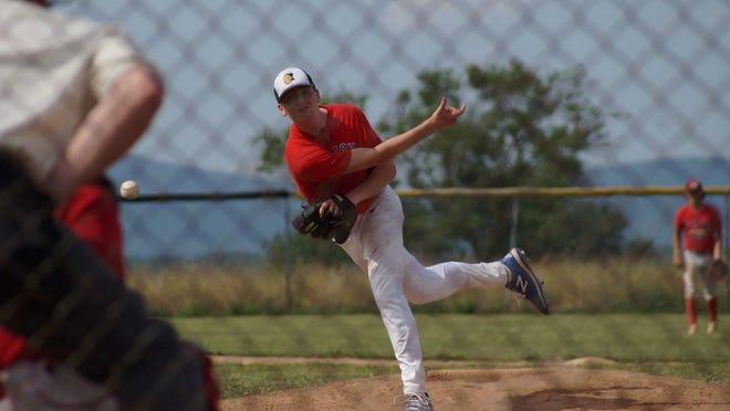 Waynesboro's Garrett Beaver delivers a pitch during a Frederick Wood Bats League game.