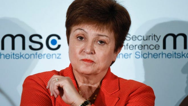 In this Feb. 14, 2020, file photo, Kristalina Georgieva, Managing Director of the International Monetary Fund, attends a session on the first day of the Munich Security Conference in Munich, Germany. The International Monetary Fund has sharply lowered its forecast for global growth this year because it envisions far more severe economic damage from the coronavirus than it did just two months ago.