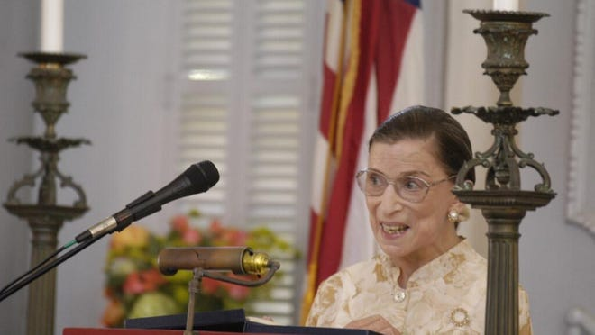 Ruth Bader Ginsburg speaks at Touro Synagogue in Newport in 2004 during the annual reading of George Washington's letter to the congregation. Ginsburg died Friday at age 87.