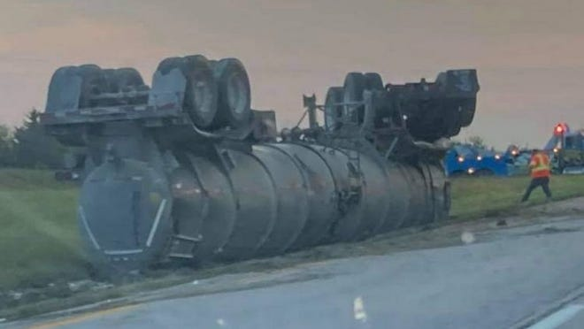 A 2015 Mack Truck overturned after the truck went off the left side of U.S. Highway 36 just west of Brookfield early the morning of Sept.22.