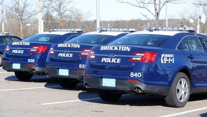 Brockton police cruisers parked outside of the station on Dec. 6, 2012, in this Enterprise file photo.