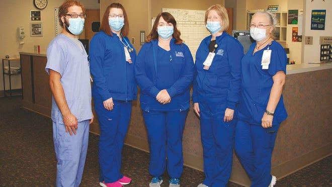 Huey Seeley, CNA; Taryn Salerno, R.N.; Cheri Sisson, R.N.; Starla Wiggs, R.N.; and Debra Godde, R.N. from Lake Regional Skilled Nursing Facility.
