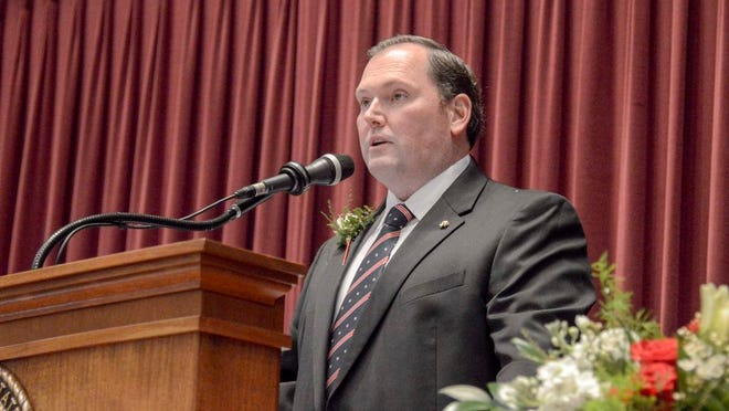 State Rep. Rob Vescovo, R-Arnold, who took the Oath for Speaker of the House on Wednesday, Jan. 6, 2021, speaks at the Capitol in Jefferson City. Photo courtesy Missouri House of Representatives