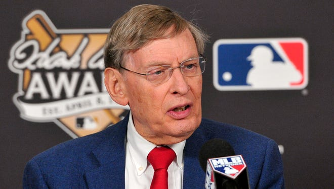 Bud Selig attends a press conference to present the 2013 Hank Aaron Award prior to Game Four of the World Series at Busch Stadium.