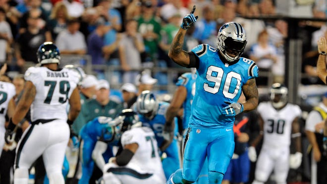Panthers defensive end Julius Peppers is tied for third in the NFL in sacks with 6.5